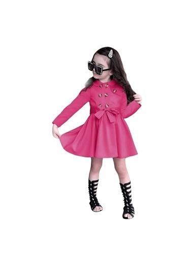 Quzucuk Kids Kız Çocuk Pembe Trenç Elbise Pembe